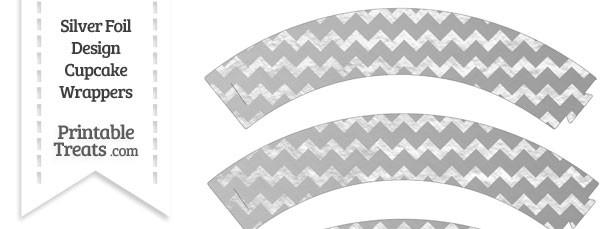 Silver Foil Chevron Cupcake Wrappers