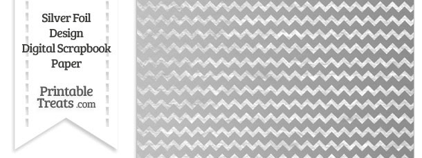 Silver Foil Chevron Digital Scrapbook Paper