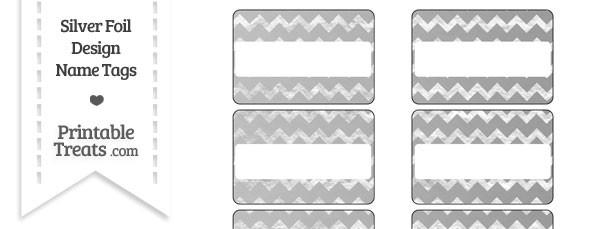 Silver Foil Chevron Name Tags