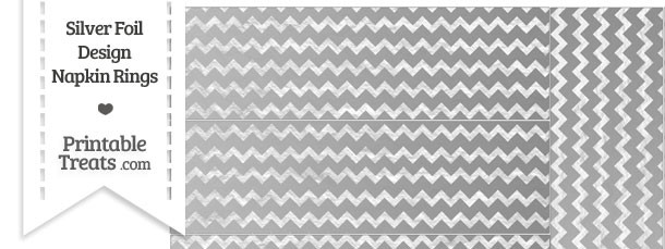 Silver Foil Chevron Napkin Rings