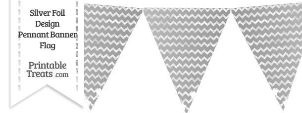 Silver Foil Chevron Pennant Banner Flag