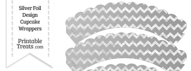 Silver Foil Chevron Scalloped Cupcake Wrappers