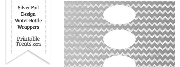 Silver Foil Chevron Water Bottle Wrappers