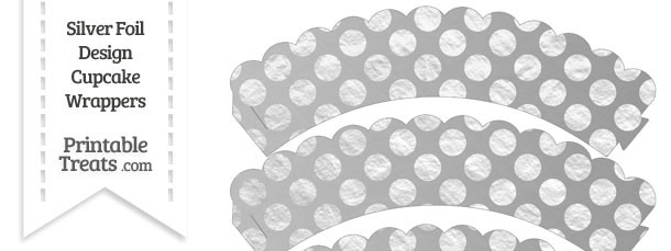 Silver Foil Dots Scalloped Cupcake Wrappers