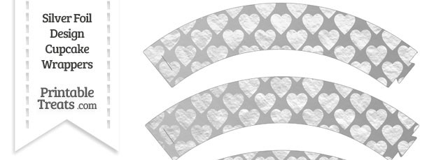Silver Foil Hearts Cupcake Wrappers