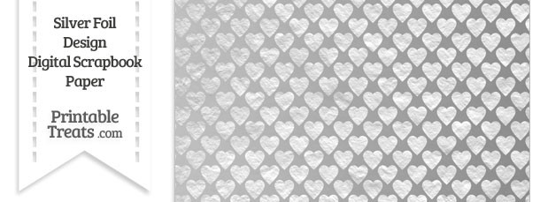Silver Foil Hearts Digital Scrapbook Paper