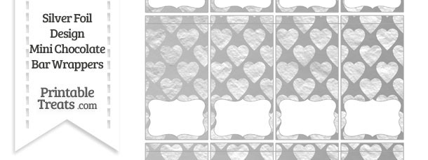 Silver Foil Hearts Mini Chocolate Bar Wrappers