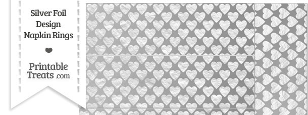 Silver Foil Hearts Napkin Rings