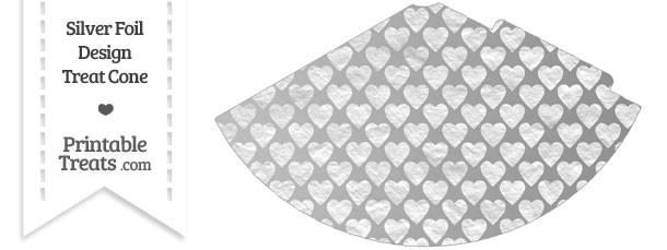 Silver Foil Hearts Party Cone