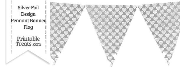 Silver Foil Hearts Pennant Banner Flag