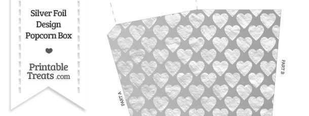Silver Foil Hearts Popcorn Box