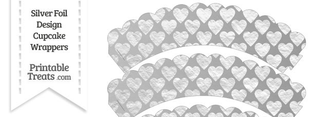 Silver Foil Hearts Scalloped Cupcake Wrappers