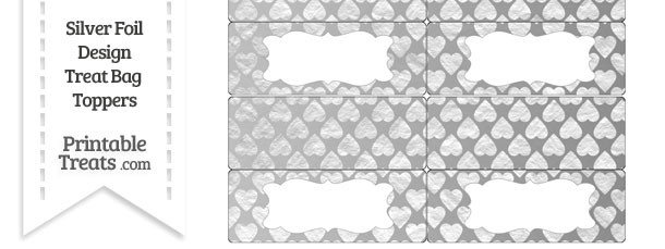 Silver Foil Hearts Treat Bag Toppers
