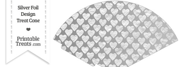 Silver Foil Hearts Treat Cone