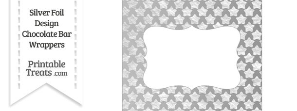 Silver Foil Stars Chocolate Bar Wrappers