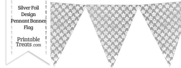 Silver Foil Stars Pennant Banner Flag
