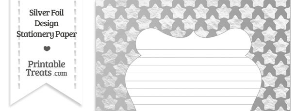 Silver Foil Stars Stationery Paper