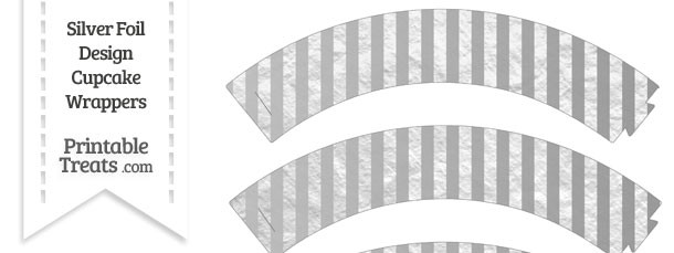 Silver Foil Stripes Cupcake Wrappers