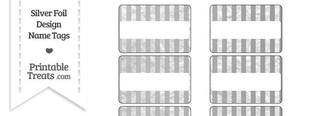 Silver Foil Stripes Name Tags
