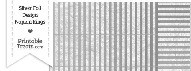 Silver Foil Stripes Napkin Rings