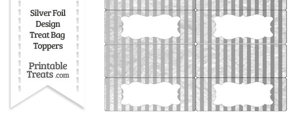Silver Foil Stripes Treat Bag Toppers