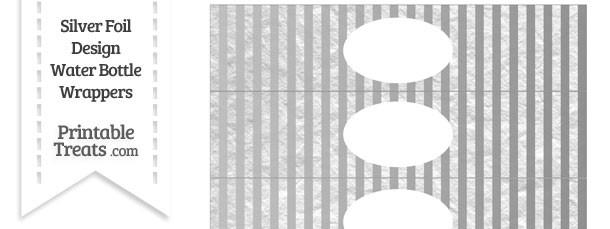 Silver Foil Stripes Water Bottle Wrappers