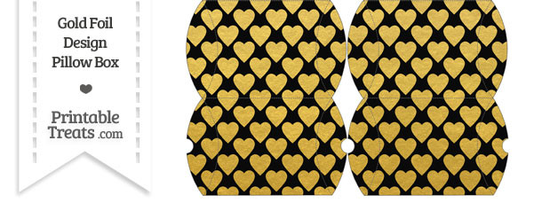 Small Black and Gold Foil Hearts Pillow Box