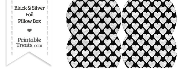 Small Black and Silver Foil Hearts Pillow Box