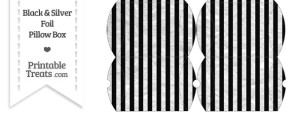 Small Black and Silver Foil Stripes Pillow Box
