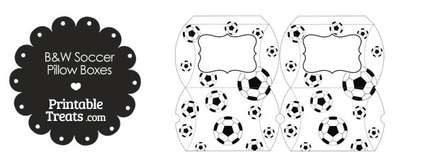 Small Black and White Soccer Pillow Boxes