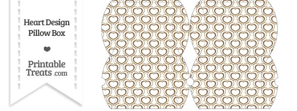 Small Brown Heart Design Pillow Box
