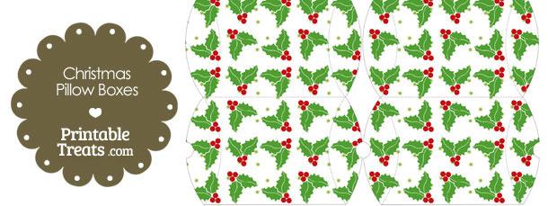Small Christmas Holly Pillow Box