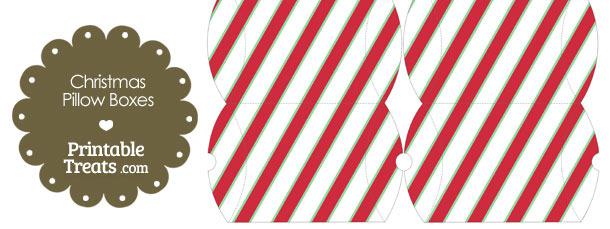 Small Christmas Stripes Pillow Box