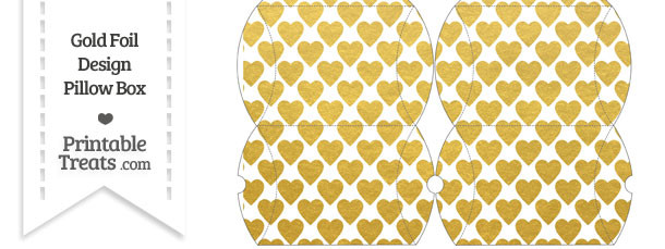 Small Gold Foil Hearts Pillow Box