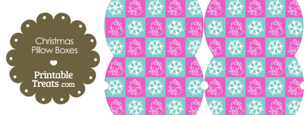 Small Hello Kitty Christmas Checkered Pillow Box