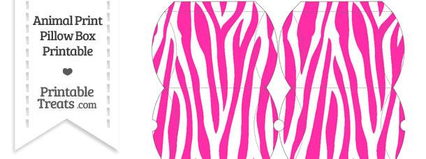 Small Hot Pink and White Zebra Print Pillow Box