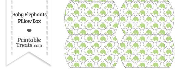 Small Light Green Baby Elephants Pillow Box
