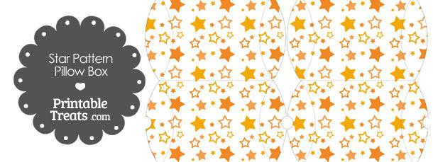 Small Orange Star Pattern Pillow Box