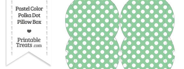 Small Pastel Green Polka Dot Pillow Box