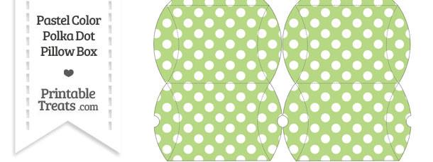 Small Pastel Light Green Polka Dot Pillow Box