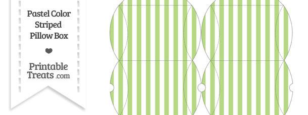 Small Pastel Light Green Striped Pillow Box