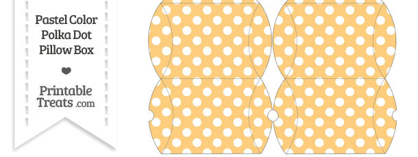 Small Pastel Light Orange Polka Dot Pillow Box