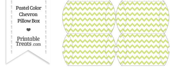 Small Pastel Yellow Green Chevron Pillow Box