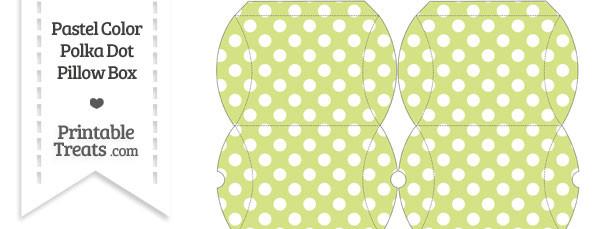 Small Pastel Yellow Green Polka Dot Pillow Box