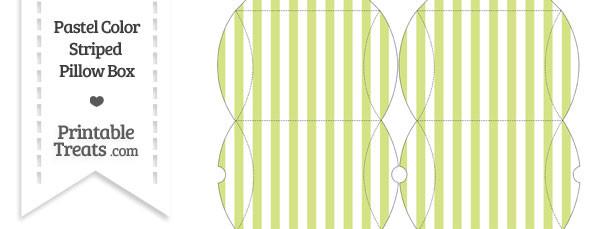 Small Pastel Yellow Green Striped Pillow Box