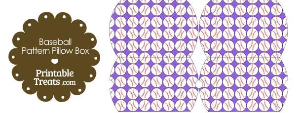 Small Purple Baseball Pattern Pillow Box