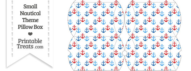 Small Red and Blue Anchors Pillow Box