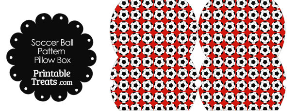 Small Red Soccer Ball Pattern Pillow Box