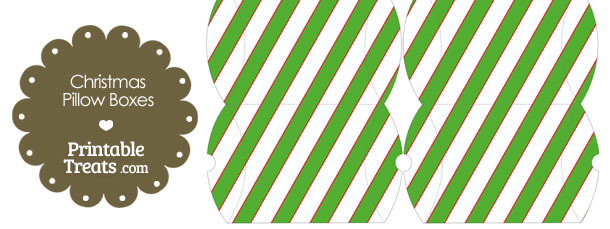 Small Red White and Green Diagonal Striped Pillow Box