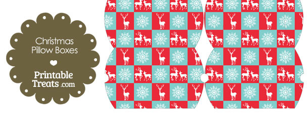 Small Reindeer and Snowflakes Pillow Box